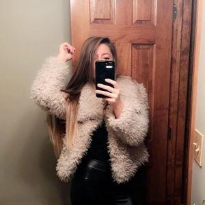 ZARA women's xs shaggy fur cardigan coat jacket